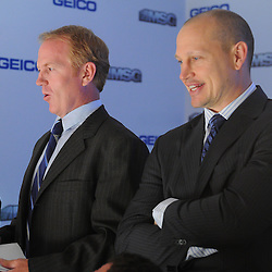 May 14, 2012: Rangers alumni Brian Leetch, left, and Adam Graves watch the game from a luxury suite during first period action in game 1 of the NHL Eastern Conference Finals between the New Jersey Devils and New York Rangers at Madison Square Garden in New York, N.Y.