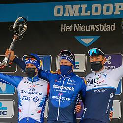 27-02-2021: Wielrennen: Omloop Het Nieuwsblad - Mannen: Gent<br />Davide Ballerini van Deceuninck-Quick-Step bleef in een sprint met een omvangrijke groep Jake Stewart en Sep Vanmarcke voor.