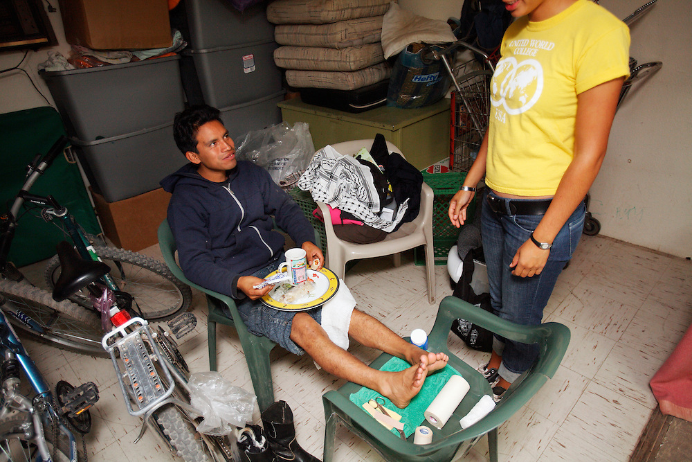 A man receives food and medical attention at volunteer Migrant Center in Agua Perieta, Mexico on the US Border near Douglas, Arizona. The Migrant Center does not encourage people to cross the nearly 2,000 mile border but will provide those who have been caught while crossing medical attention, as well as food and water. Hundreds of undocumented immigrants pass across the desert here, and dozens die every year from dehydration and exposure.