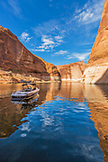 Anchored Ski Boat at Reflection Canyon Lake Powell