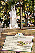 Plaza de la Constitucion in St. Augustine, Florida. The oldest public park in the United States established by Spanish Royal Ordinances in 1573.