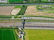 Nederland, Brabant, Moerdijk, 14-05-2020; Station Lage Zwaluwe; naast de perrons goederensporen en rangeersporen.<br /> Lage Zwaluwe station; freight tracks and sidings are next to the platforms.<br /> <br /> luchtfoto (toeslag op standard tarieven);<br /> aerial photo (additional fee required);<br /> copyright foto/photo Siebe Swart