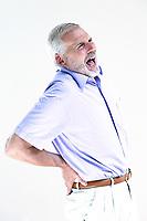 caucasian senior man portrait screaming backache isolated studio on white background