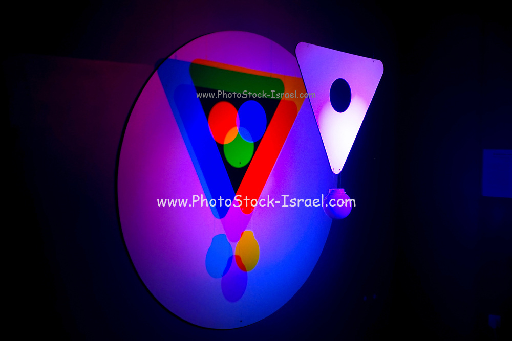 Venn diagram form by projected coloured lights