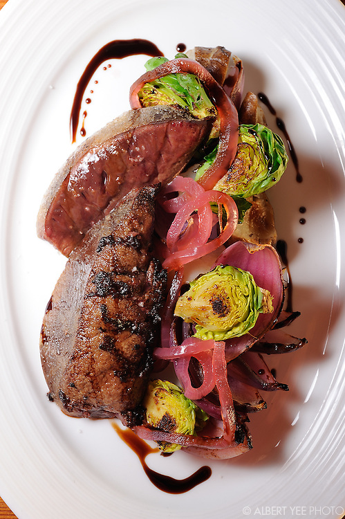 Seared calves liver with sunchoke, Brussels sprouts, smoked and pickled red onion<br /> <br /> Russet for Grid Magazine<br /> <br /> December 19. 2013