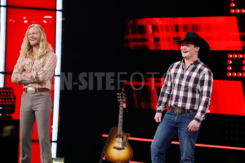 """THE VOICE -- """"Knockout Reality"""" Episode 2010 --  Pictured: (l-r) Jordan Matthew Young, Ethan Lively -- (Photo by: Trae Patton/NBC)"""