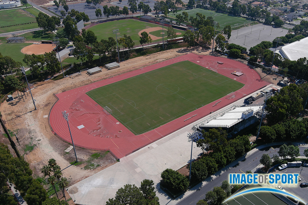 A general overall view of the Cal State Dominguez Hills track and field stadium (Toro Stadium), Friday, Sept. 25, 2020, in Carson, Calif.