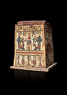 Ancient Egyptian pylon (gateway) shaped Canopic chest for internal organs, wood, Late  to Ptolemaic Period(722-40 BC), Egyptian Museum, Turin. Old Fund Cat 2427.  Black background,<br /> <br /> Canopic chests are cases used by Ancient Egyptians to contain the internal organs removed during the process of mummification. .<br /> <br /> If you prefer to buy from our ALAMY PHOTO LIBRARY  Collection visit : https://www.alamy.com/portfolio/paul-williams-funkystock/ancient-egyptian-art-artefacts.html  . Type -   Turin   - into the LOWER SEARCH WITHIN GALLERY box. Refine search by adding background colour, subject etc<br /> <br /> Visit our ANCIENT WORLD PHOTO COLLECTIONS for more photos to download or buy as wall art prints https://funkystock.photoshelter.com/gallery-collection/Ancient-World-Art-Antiquities-Historic-Sites-Pictures-Images-of/C00006u26yqSkDOM
