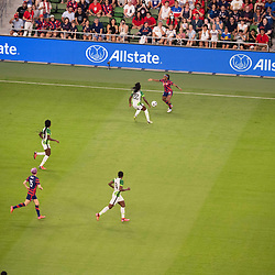 CRYSTAL DUNN (19) of Team USA challenges players during the second half of the  US Women's National Team (USWNT) match against Nigeria, beating them 2-0 in the inaugural match of Austin's new Q2 Stadium. The U.S. women's team, an Olympic favorite, is wrapping up a series of summer matches to prep for the Tokyo Games.