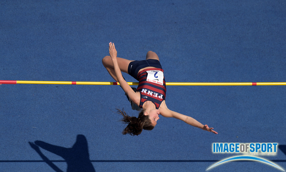Apr 28, 2018; Philadelphia, PA, USA; Anna Peyton Malizia of Penn places second in the women's high jump at 5-10 (1.78m) during the 124th Penn Relays at Franklin Field.