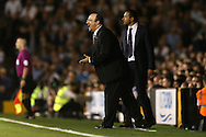 Rafa Benitez, the Newcastle United manager shouting at his players from the touchline. Skybet EFL championship match, Fulham v Newcastle Utd at Craven Cottage in Fulham, London on Friday 5th August 2016.<br /> pic by John Patrick Fletcher, Andrew Orchard sports photography.