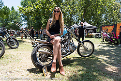 Evil Spirit Engineering's Cassandra Barragan (with her Panhead chopper) at the Born-Free Vintage Motorcycle show at Oak Canyon Ranch, Silverado, CA, USA. Sunday, June 23, 2019. Photography ©2019 Michael Lichter.