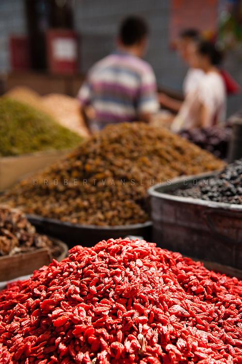Raisins and grapes for sale at the bazar, Turpan, Xinjiang, China