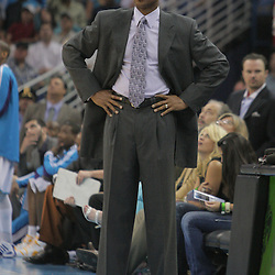 25 March 2009: New Orleans Hornets coach Byron Scott watches his team during a 101-88 loss by the New Orleans Hornets to the Denver Nuggets at the New Orleans Arena in New Orleans, Louisiana.