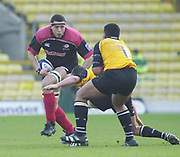 Watford, Hertfordshire, 08.12.2001, Zurich Premiership Rugby,  Sarries,  Abdel Benazzi, charges the Newcastle defence, during the, Saracens vs Newcastle Falcons, match played at, Vicarage Road, <br /> [Mandatory Credit: Peter Spurrier/Intersport images]