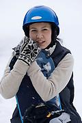 Portrait of female snowboarder.