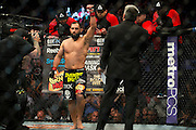 Johny Hendricks is announced before his title fight against Robbie Lawler UFC 171 in Dallas, Texas on March 15, 2014.