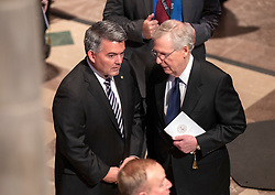 United Staters Senate Majority Leader Mitch McConnell (Republican of Kentucky), right< and US Senator Cory Gardner (Republican of Colorado), left, in conversation prior to the beginning of the funeral service for the late US Senator John S. McCain, III (Republican of Arizona) at the Washington National Cathedral in Washington, DC, USA on Saturday, September 1, 2018. Photo by Ron Sachs/CNP/ABACAPRESS.COM