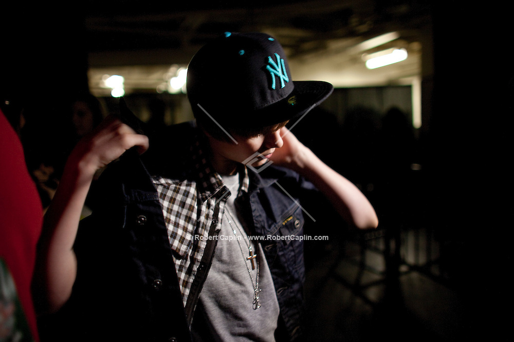 Justin Bieber backstage at the 2009 Z100's Jingle Ball at Madison Square Garden in New York. ..(Photo by Robert Caplin)....