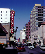 CS02009 SW Broadway looking N from Main, Paramount & Parker Theaters. March 24, 1982