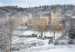 © Licensed to London News Pictures. 27/02/2018. Leeds Castle, UK. Leeds Castle after heavy snow forced it to close for the day. Freezing temperatures and heavy snow are affecting large parts of Kent.  Photo credit: Peter Macdiarmid/LNP