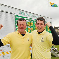 16 September 2011; Jason Considine and Brian Mulcahy, Woodstock Golf Club, Co. Clare, celebrate after winning the Pierce Purcell Shield Final against Corrstown Golf Club, Co. Dublin. Chartis Cups and Shields Finals 2011, Castlerock Golf Club, Co. Derry. Picture credit: Oliver McVeigh/ SPORTSFILE *** NO REPRODUCTION FEE ***