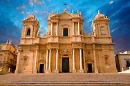 Restored Baroque Cathedral of San Nicolo - Noto, Sicily Noto Cathedral (Cattedrale di Noto; La Chiesa Madre di San Nicolò) is a Roman Catholic cathedral in Noto in Sicily, Italy. Its construction, in the style of the Sicilian Baroque, began in the early 18th century and was completed in 1776. A UNEASO Wrold Heritage Site.<br /> <br /> USEFUL LINKS:<br /> Wikipedia https://en.wikipedia.org/wiki/Noto_Cathedral<br /> Wikipedia https://en.wikipedia.org/wiki/Noto .<br /> <br /> Visit our SICILY HISTORIC PLACES PHOTO COLLECTIONS for more   photos  to download or buy as prints https://funkystock.photoshelter.com/gallery-collection/2b-Pictures-Images-of-Sicily-Photos-of-Sicilian-Historic-Landmark-Sites/C0000qAkj8TXCzro<br /> .<br /> <br /> Visit our EARLY MODERN ERA HISTORICAL PLACES PHOTO COLLECTIONS for more photos to buy as wall art prints https://funkystock.photoshelter.com/gallery-collection/Modern-Era-Historic-Places-Art-Artefact-Antiquities-Picture-Images-of/C00002pOjgcLacqI