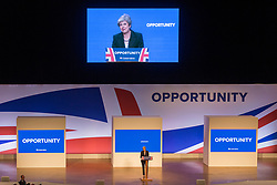 © Licensed to London News Pictures. 03/10/2018. Birmingham, UK. Prime Minister Theresa May gives her speech to her party on the final day of the Conservative Party Conference being held at the International Convention Centre in Birmingham. Photo credit: Andrew McCaren/LNP