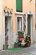 Street view. Alfama district. Traditional craft shop. Lisbon, Portugal