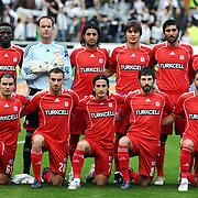 Sivasspor's players (Left to Right) (Front side) Abdurrahman DERELI, Kadir BEKMEZCI, Musa AYDIN, Ibrahim DAGASAN, Cihan YILMAZ, (Back Side) (Left to Right) Souleymane KEITA, Michael PETKOVIC, Hayrettin YERLIKAYA, Yasin CAKMAK, Sedat BAYRAK, Mehmet YILDIZ during their Turkish superleague soccer match Besiktas between Sivasspor at BJK Inonu Stadium in Istanbul Turkey on Saturday, 24 April 2010. Photo by TURKPIX