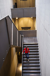 Staircase inside the new Gallo-Roman Museum in Tongeren in Belgium