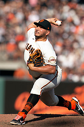 San Francisco Giants pitcher Kervin Castro (76) delivers a pitch against the San Diego Padres during the tenth inning of a baseball game, Saturday, Oct. 2, 2021, in San Francisco. Castro was the losing pitcher in the Padres' 3-2 victory. (AP Photo/D. Ross Cameron)