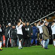 Besiktas's players celebrate victory during their Turkey Cup matchday 3 soccer match Besiktas between Gaziantepspor BSB at the Inonu stadium in Istanbul Turkey on Wednesday 11 January 2012. Photo by TURKPIX