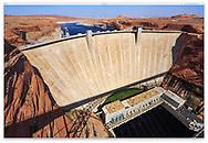 The Glen Canyon Dam and Lake Powell at Page Arizona, USA