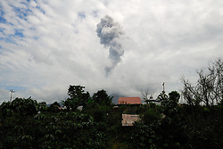 April 27, 2017 - north sumatera, Indonesia - Mount Sinabung is a Pleistocene-to-Holocene stratovolcano. It is located in a relatively cool area on a fertile plateau with mountains bounding the north. (Credit Image: © Sabirin Manurung/Pacific Press via ZUMA Wire)