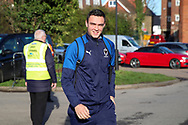 AFC Wimbledon attacker Tommy Wood (22) arriving for the game during the EFL Sky Bet League 1 match between AFC Wimbledon and Peterborough United at the Cherry Red Records Stadium, Kingston, England on 18 January 2020.