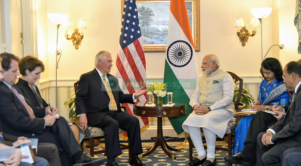 June 26, 2017 - Washington, United States of America - Indian Prime Minister Narendra Modi, right, during a bilateral meeting with U.S. Secretary of State Rex Tillerson June 26, 2017 in Washington D.C. (Credit Image: © Lalit Kumar/Planet Pix via ZUMA Wire)