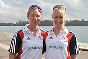 Caversham, Great Britain. GBR LW2X. left; Andrea DENNIS and Imogen WALSH  2012 GB Rowing World Cup Team Announcement Wednesday  04/04/2012  [Mandatory Credit; Peter Spurrier/Intersport-images]