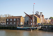 Cygnet an historic Spritsail Barge built 1881 on the River Alde at Snape Maltings, Suffolk, England