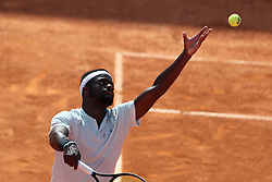 May 6, 2018 - Estoril, Portugal - Frances Tiafoe of US serves a ball to Joao Sousa of Portugal during the Millennium Estoril Open ATP 250 tennis tournament final, at the Clube de Tenis do Estoril in Estoril, Portugal on May 6, 2018. (Joao Sousa won 2-0) (Credit Image: © Pedro Fiuza/NurPhoto via ZUMA Press)