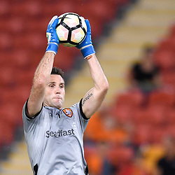 BRISBANE, AUSTRALIA - APRIL 21: Michael Theo of the Roar warms up before the Hyundai A-League Elimination Final match between the Brisbane Roar and Western Sydney Wanderers at Suncorp Stadium on April 21, 2017 in Brisbane, Australia. (Photo by Patrick Kearney/Brisbane Roar)