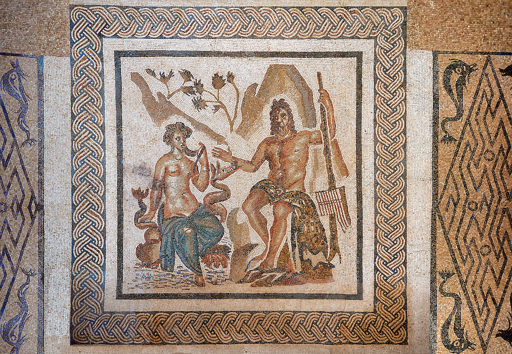 Polyphemus, the giant son of Poseidon and Thoosa in Greek mythology and  one of the Cyclopes described in Odyssey, with Galatea, 2nd century Roman Mosaic from the Alcazar of Cordoba, Spain .<br /> <br /> If you prefer to buy from our ALAMY PHOTO LIBRARY Collection visit : https://www.alamy.com/portfolio/paul-williams-funkystock/roman-mosaic.html . Type -   Cordoba     - into the LOWER SEARCH WITHIN GALLERY box. Refine search by adding background colour, place, museum etc<br /> <br /> Visit our ROMAN MOSAIC PHOTO COLLECTIONS for more photos to download as wall art prints https://funkystock.photoshelter.com/gallery-collection/Roman-Mosaics-Art-Pictures-Images/C0000LcfNel7FpLI