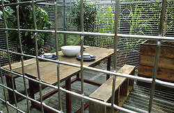 Wire 'cage' around seating area