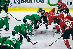 Gasper Sersen of HDD Jesenice vs PLANKO David of HDD Olimpija ROPRET Anže of HDD Olimpijaduring 500th derbi between HK SZ Olimpija Ljubljana vs HDD SIJ Acroni Jesenice  - AHL 2019/20, on the 26th of  Oktober, Ljubljana, Slovenia. Photo by Matic Ritonja / Sportida