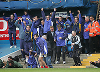 Photo: Lee Earle.<br /> Portsmouth v Middlesbrough. The Barclays Premiership. 15/04/2006. The Portsmouth bench celebrate at full-time.