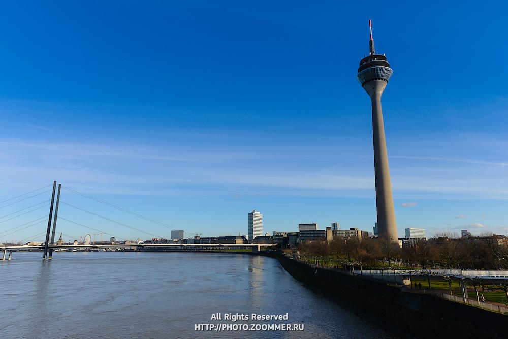 Dusseldorf TV Tower Rheinturm and Rhine river, Germany