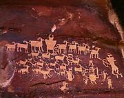 Hunter's Mural, Fremont Culture petroglyphs, tributary to Nine Mile Canyon, Utah.