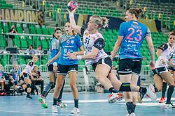 Heidi Løke of Norway and Hana Vučko, Nina Žabjek of Slovenia during handball match between RK Krim Mercator (SLO) and Vipers Kristiansand (NOR), on September 12, 2020 in Arena Stožice, Ljubljana, Slovenia. Photo by Sinisa Kanizaj / Sportida