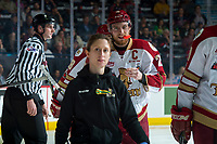 REGINA, SK - MAY 22: Jeffrey Truchon-Viel #25 of Acadie-Bathurst Titan heads to the bench with athletic therapist Melanie Landry against the Hamilton Bulldogs at the Brandt Centre on May 22, 2018 in Regina, Canada. (Photo by Marissa Baecker/CHL Images)