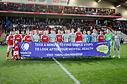 Portsmouth players and Fleetwood players promote mental health during the The FA Cup match between Fleetwood Town and Portsmouth at the Highbury Stadium, Fleetwood, England on 4 January 2020.